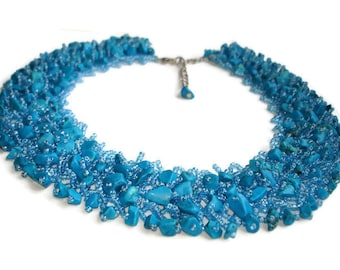 Blue necklace Statement beaded necklace Chunky turquoise necklace vintage jewelry turquoise throat chakra necklace protection jewelry women