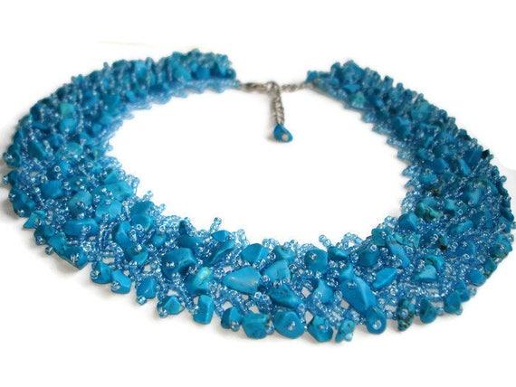 Blue Charm Necklace Blue Bib Necklace Chunky Feminine Necklace Blue Bold Necklace Statement Necklace Large Turquoise Necklace