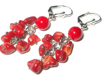 Bridal party gifts earrings Red coral earrings boho chic jewelry Coral drop drop earrings semi precious stone jewelry wedding party earrings