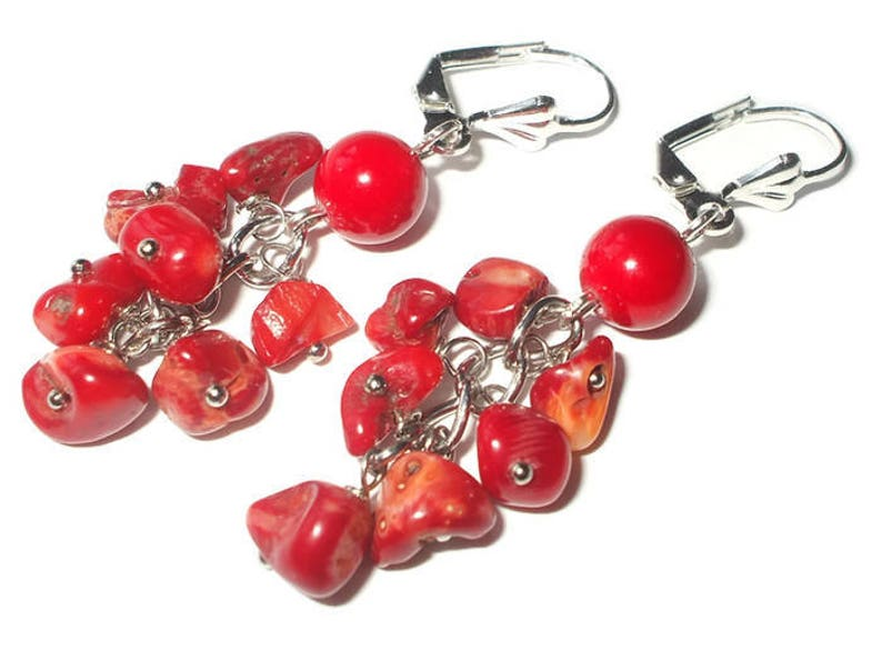 Bridal party gifts earrings Red coral earrings boho chic image 0