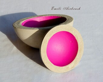 Concrete shells set of 2-pink