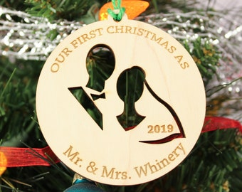 Personalized Our First Christmas as Mr. & Mrs. Married Wooden Christmas Ornament 2020