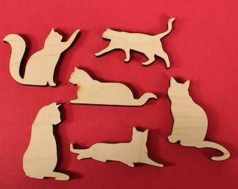 Set of 6 Cat Magnets Wooden   DIY Cat Magnets   Blank Pet Magnets   Wooden Pet Magnets