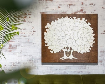 Wooden Tree Puzzle Guestbook Alternative   Original Trunk With or Without Dark Border Frame    Rustic Custom Unique Wedding Idea