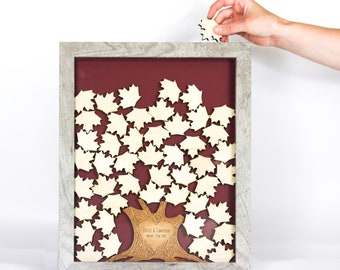 Personalized Wedding Tree Drop Box Guest Book Alternative   Unique Guest Book Idea   Custom Shadow Box Frame Guest Sign In Book