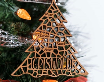 Solid Wood Personalized Family Tree Ornament   Custom Family Name Christmas Ornament  