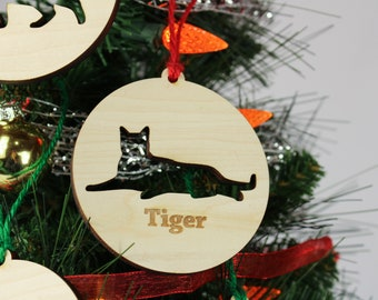 Personalized Cat Ornament Wooden Custom Christmas