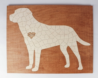 Dog Puzzle Guest Book Alternative   Personalized Dog Breed Wooden Puzzle   Wedding, Baby Shower, Anniversary, Birthday, Reunion Sign in Book