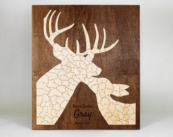 Deer Puzzle Guest Book Alternative   Winter Wedding, Baby Shower, Anniversary, Birthday, Reunion   Unique Custom Personalized Handmade