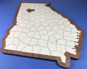 State Puzzle Guest Book Alternative   Wooden Puzzle Personalized Guest Book   Travel Guest Book   Unique Map Guest Book