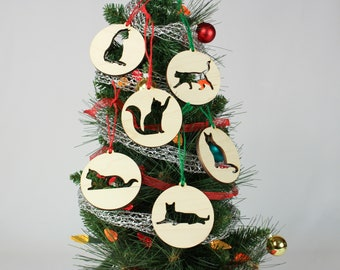 Set of 6 Cat DIY Wooden Ornaments for Crafting