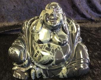 Spiderweb Obsidian Buddha Statue - 3.504 lbs.
