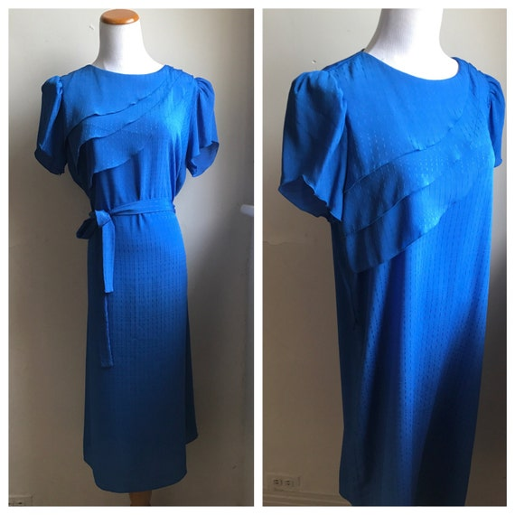 2eed2f4eeb9 Vintage Waist Tie Sack Dress Electric Blue 80s Dress