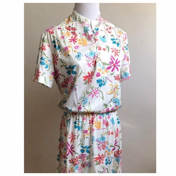 70s Floral Dress | Vintage Hippie Flower Child Dre