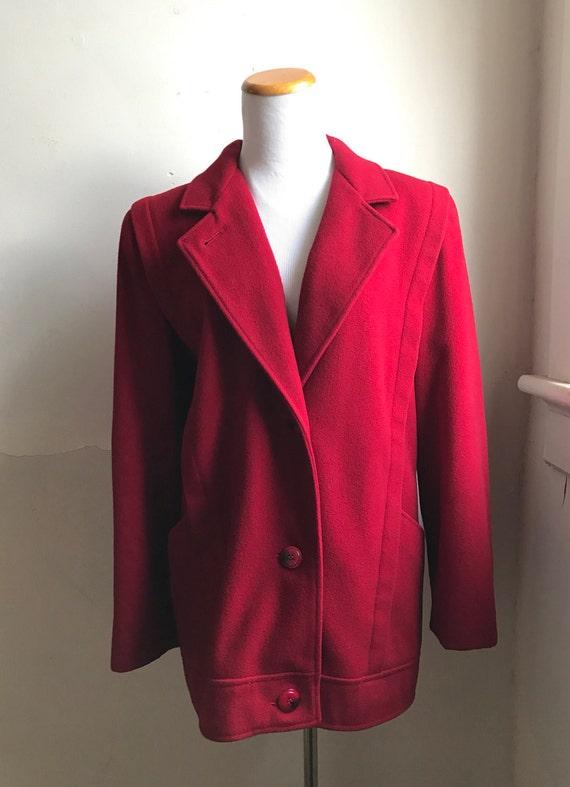 Vintage Red Fahsion Coat   80s MacKintosh Coat   L