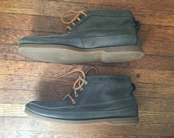 Vintage Sperry Topsiders Chukka Style Boat Shoes   Preppy Vintage Shoes   Nautical Shoes   Dusty Blue Nubuck Leather   American Classic Look