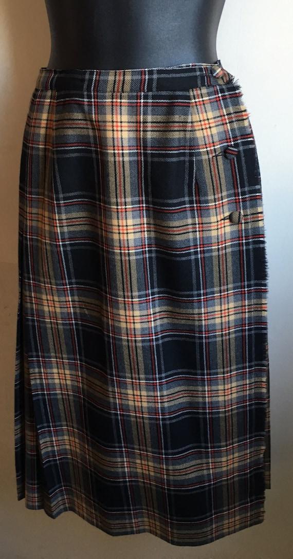 Vintage 70s Style A-Line skirt | Plaid Blanket Ski