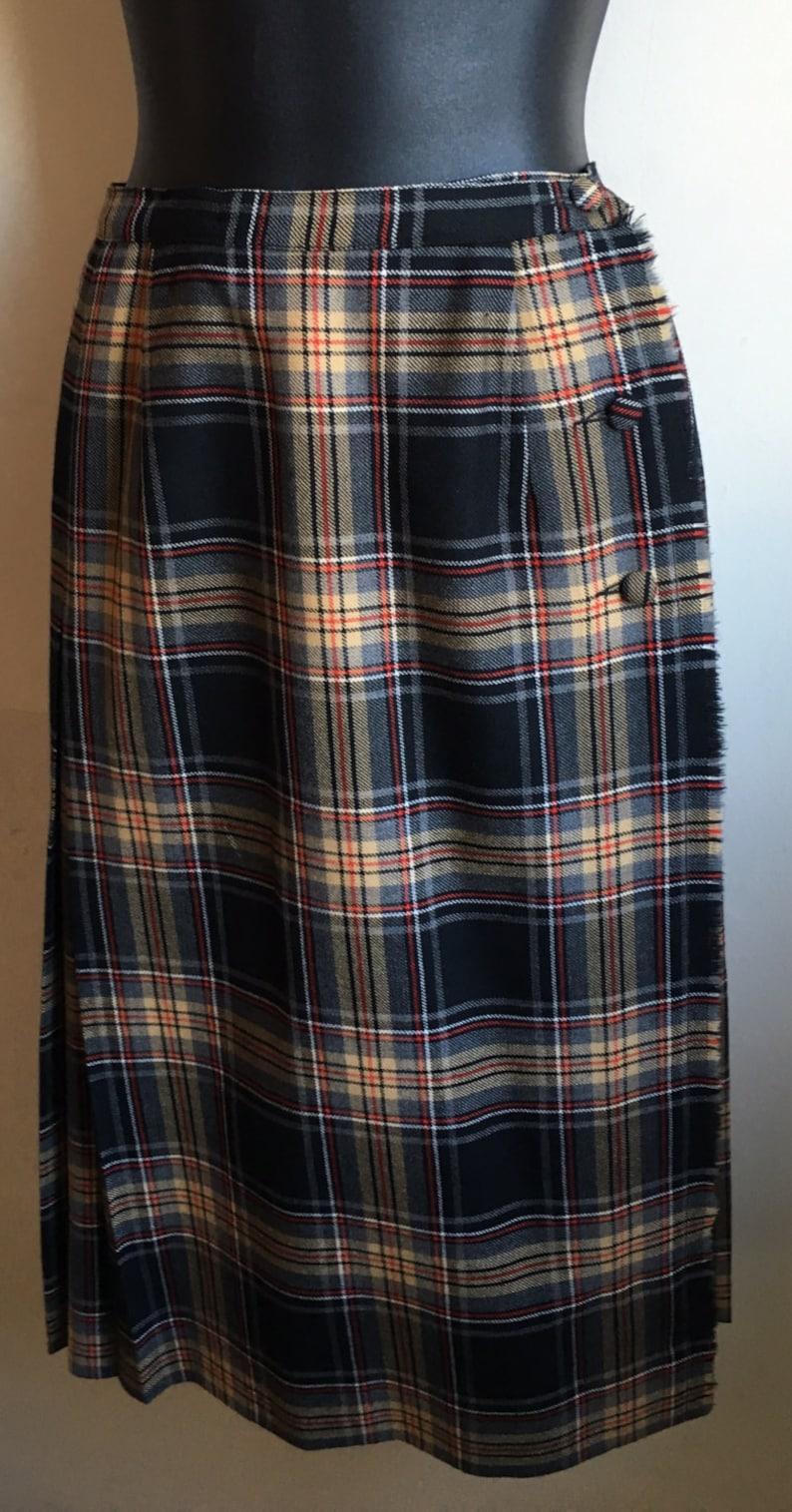 e74ff78d84 Vintage 70s Style A-Line skirt Plaid Blanket Skirt Aljean | Etsy