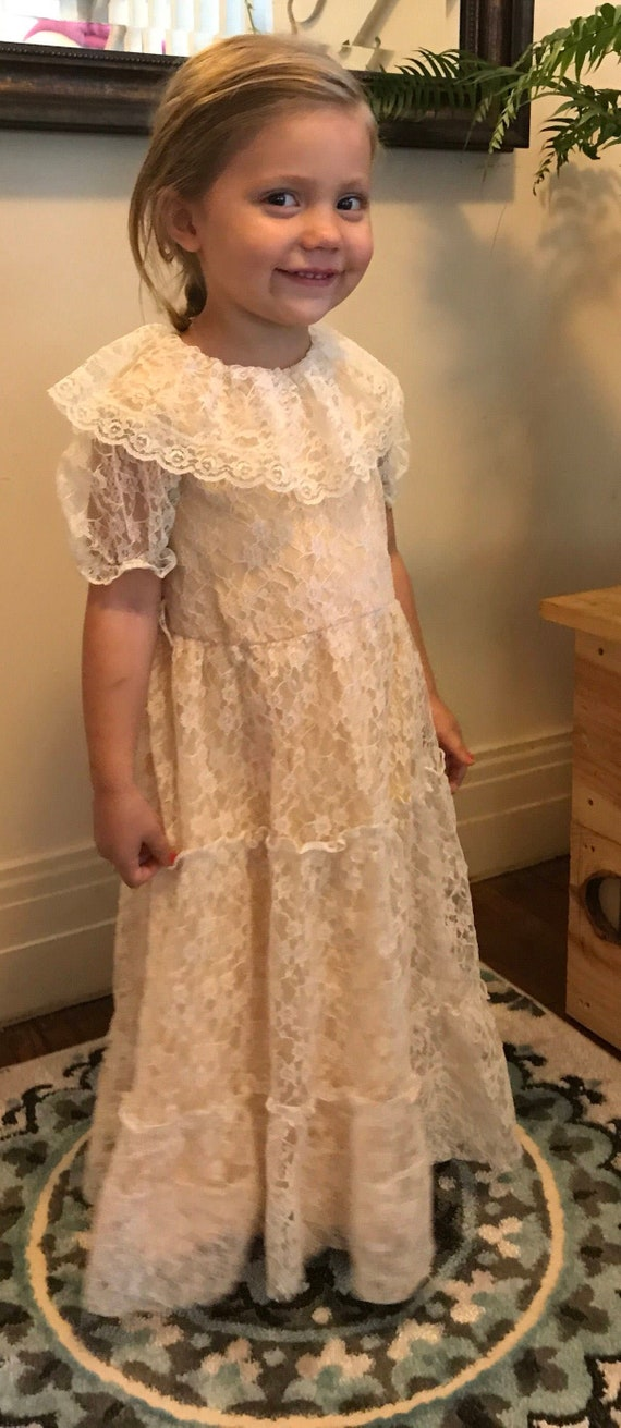 Vintage Flower Girl Dress | Rustic Wedding Lace Fl