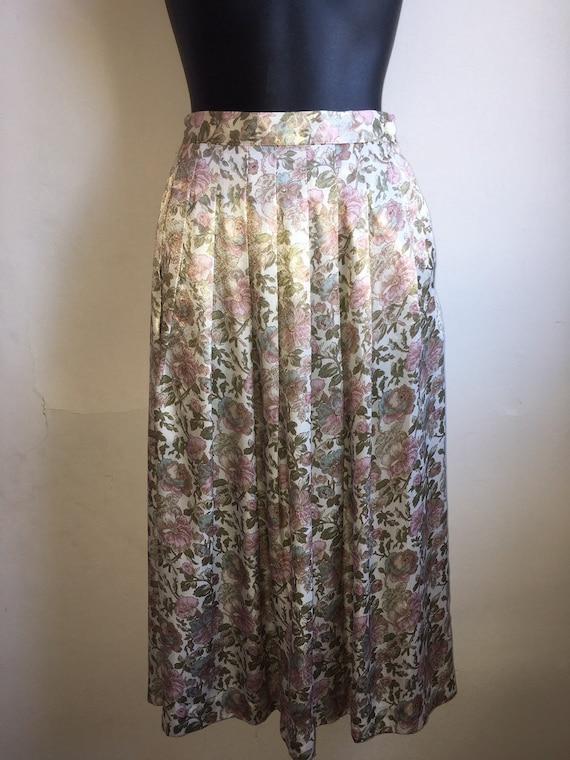 Vintage Silk MOD Skirt | Floral Pleated Silk Midi