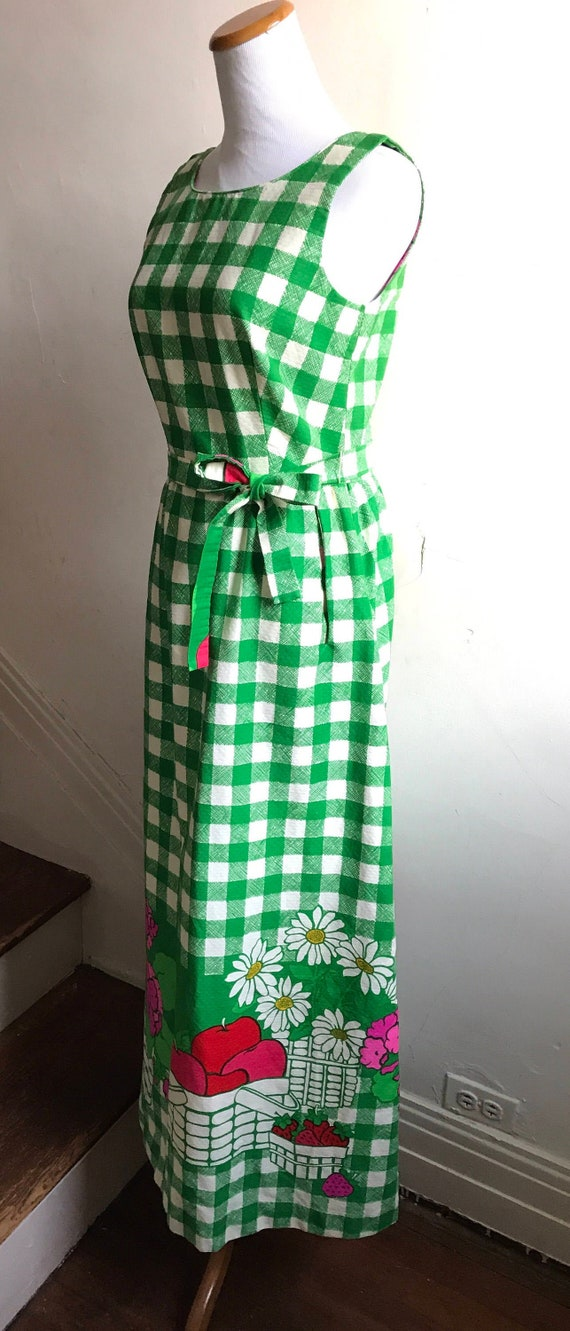 Vintage Green Picnic Plaid Dress | Boho Wedding Gu