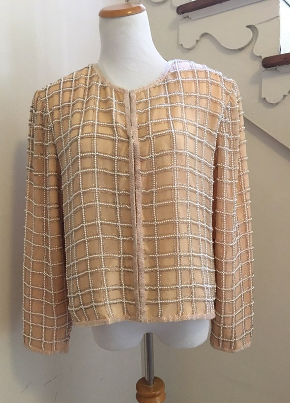 Vintage Silk Beaded Cardigan | Formal Evening Wear