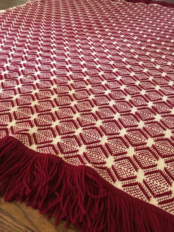 Weinlese-Wurf Decke Afghanische Stil rot Waben werfen