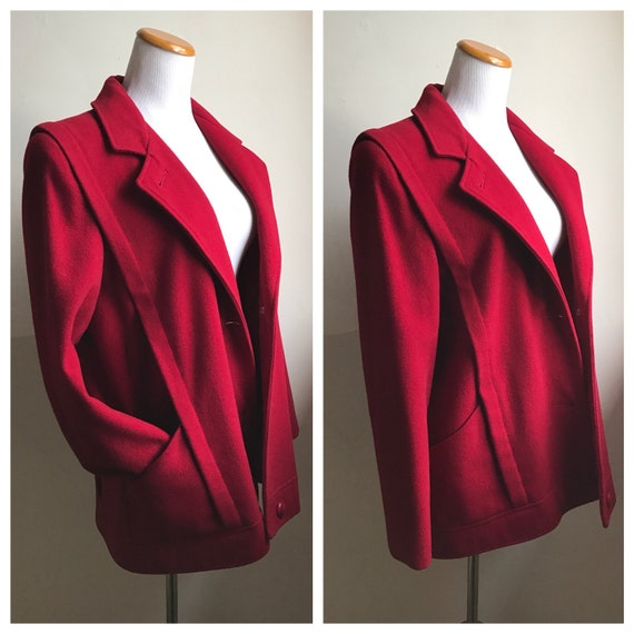Vintage Red Fahsion Coat | 80s MacKintosh Coat | L
