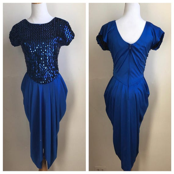 Vintage Electric Blue 80s Sequin Dress Rad 80s Prom Dress Etsy