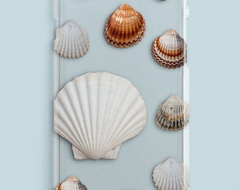 Transparent Shell Phone Case, Seashell iPhone Case, Beach iPhone Case Available for iPhone 6,7,8 & X, Seashell Phone Case, beach phone case