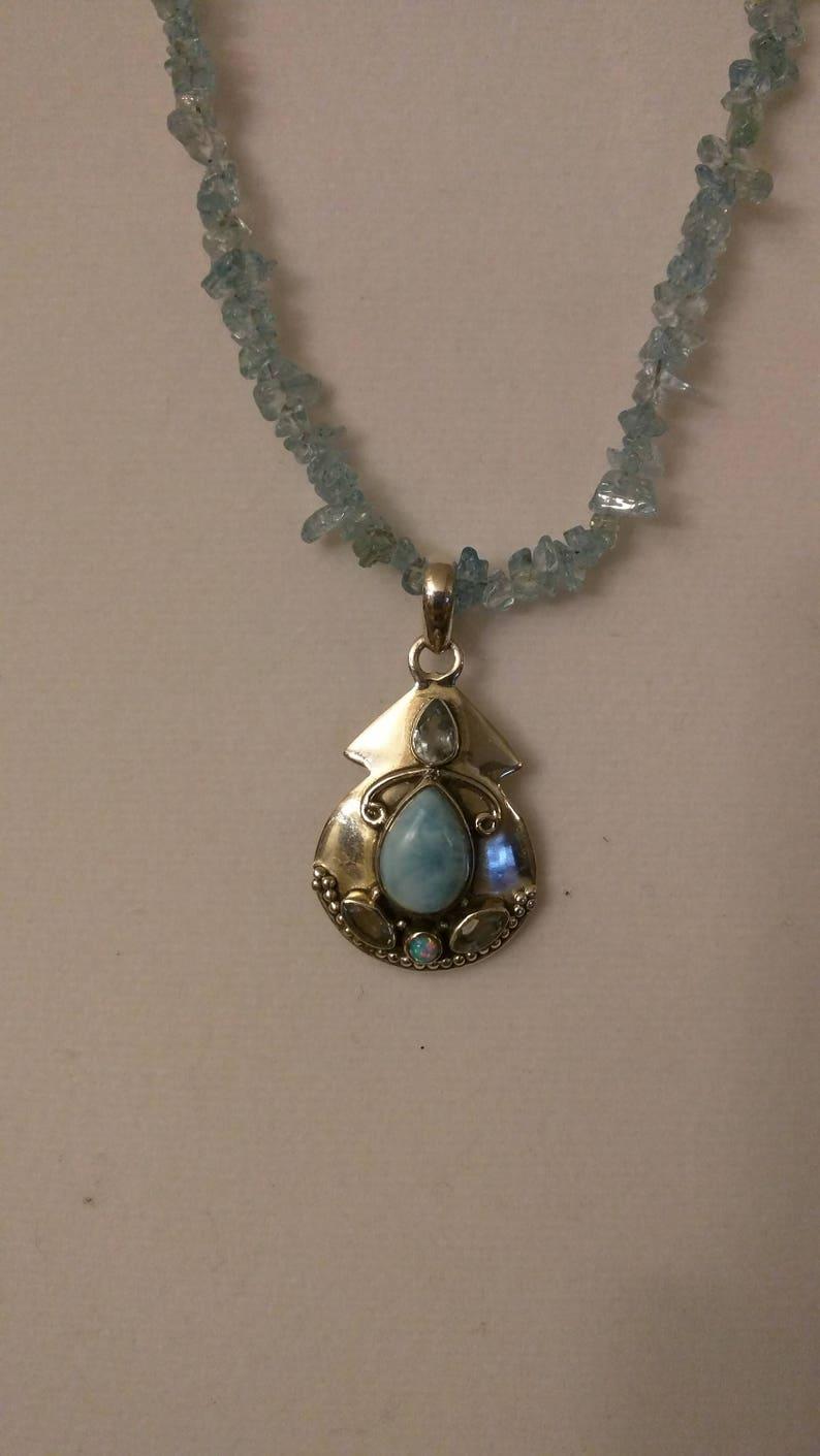 Blue Topaz and Larimar Necklace
