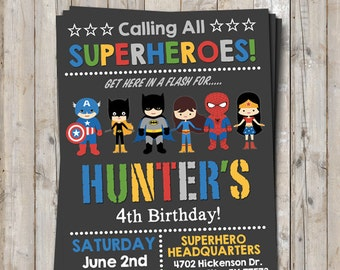 Mixed Boy Girl Superhero Supergirl Birthday Invitation Personalized For Your Party