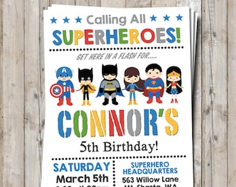 Mixed boy & girl superhero / supergirl birthday invitation personalized for your party - digital / printable DIY superhero invitation