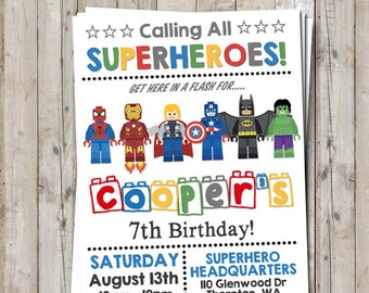 Superhero birthday invitation - personalized for your party - digital / printable DIY Lego inspired invitation