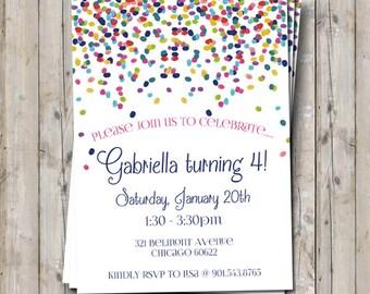 Rainbow birthday invitation personalized for your party - digital / printable DIY girls birthday invite
