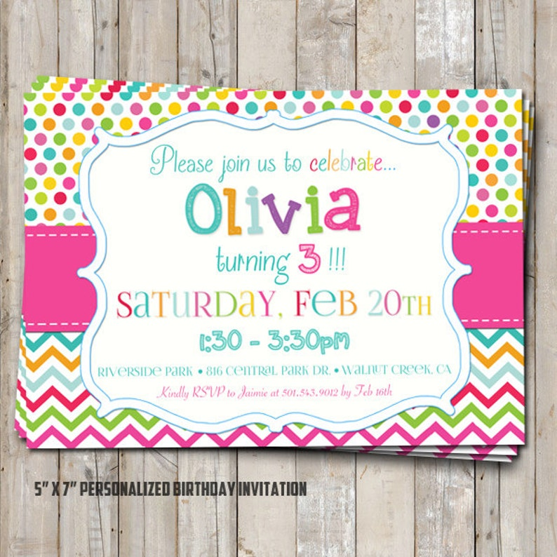 Rainbow Birthday Invitation With Polka Dot Chevron