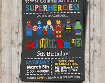 Superhero birthday invitation - personalized for your party - digital / printable DIY
