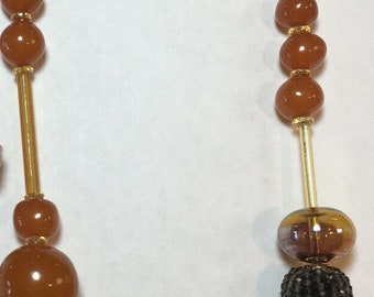 Baltic amber and gemstone bead necklace