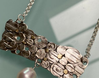 Sterling, 18k layered necklace with Cultured pearl
