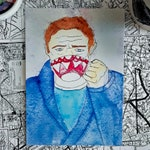 """Arthur Dent Gets A Cup of Tea // Hitchhiker's Guide to the Galaxy // Funny Quirky Watercolor Art Print //  5""""x7"""" or 127 mm by 177.8 mm"""