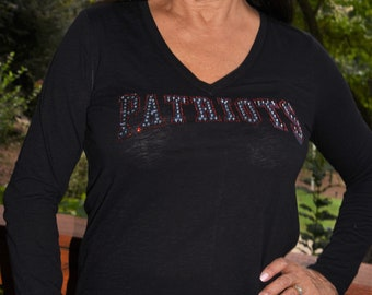 38fc53082a9 Patriots rhinestone   glitter bling shirt