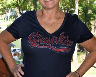 Giants rhinestone   glitter bling shirt 076885345