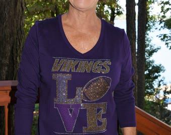 942b571045abe Vikings Love football rhinestone bling shirt