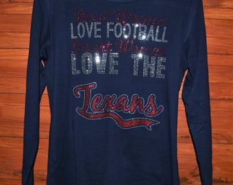 cb2a44d5a Texans football rhinestone bling shirt