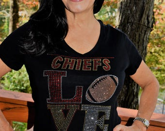 Chiefs football Love rhinestone glitter bling shirt 175bf6200