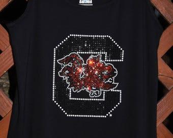 0731acaee South Carolina Gamecocks Rhinestone Bling shirt -XS S M L XL XXL 1X 2X 3X  4X 5X C with Gamecock
