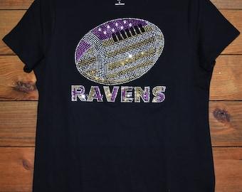 f5ff2f97f Ravens football rhinestone bling shirt