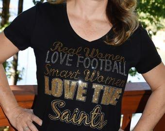 Saints football rhinestone glitter bling shirt d10652a43