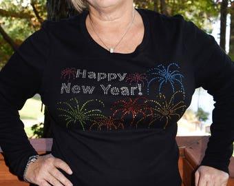 Happy New Year! New Year's Eve rhinestone  bling shirt,  XS, S, M, L, XL, XXL, 1X, 2X, 3X, 4X, 5X Fireworks