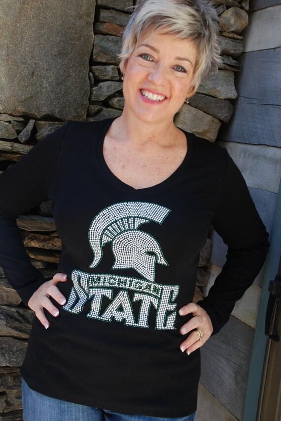 Michigan State Spartans rhinestone Bling Shirt XS S M L XL XXL 1X 2X   3X 4X 5X
